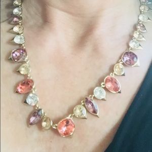 Givenchy Tri-Colored Stone Gold Statement Necklace